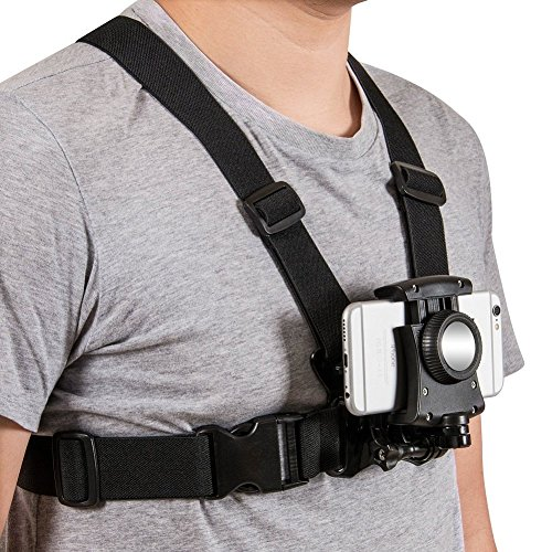 Mobile Phone Chest Mount Harness Strap Holder Cell Phone Clip action Camera POV for Samsung iphone plus (Action Camera Chest Mount)