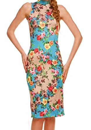 966e58a45f7d Cherry Blossom Sleeveless Flower Dress For Women Floral Sexy Bodycon Fitted  Turquoise Cream Dress (Small