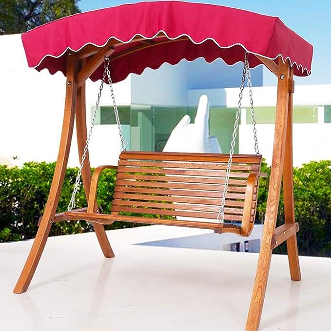 Rocking chair Silla de Columpio para Exteriores, Silla de Mecedora para terraza de Madera Maciza, Asiento Doble, Impermeable: Amazon.es: Hogar