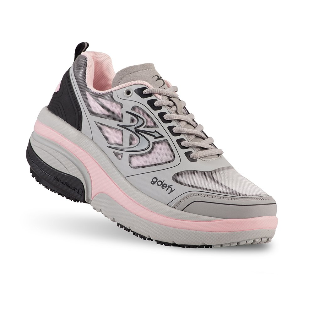 Gravity Defyer Proven Pain Relief Women's G-Defy Ion Athletic Shoes Great for Plantar Fasciitis, Heel Pain, Knee Pain B073SCSSB8 10.5 M US|Gray, Pink