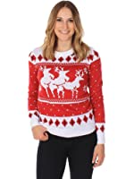 Women's Ugly Christmas Sweater - The Menage A Trois Reindeer Sweater Red