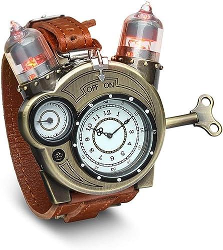 ThinkGeek Steampunk-Styled Tesla Analog Watch Weathered-Brass Look on Metal Findings Plus Leather Strap
