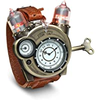 ThinkGeek Steampunk-Styled Tesla Analog Watch Weathered-Brass Look on Metal Findings Plus Leather