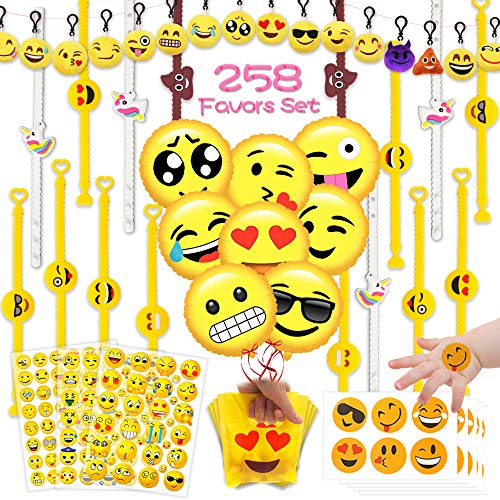 MelonBoat Emoji Party Favors Supplies 258 Faces Jumbo Pack, Backpack Keychain Plush, Balloons, Stickers, Rubber Wristbands Bracelets, Favor Goodie Bags, Bulk Set Stuff Toys Gifts for Kids Children ()