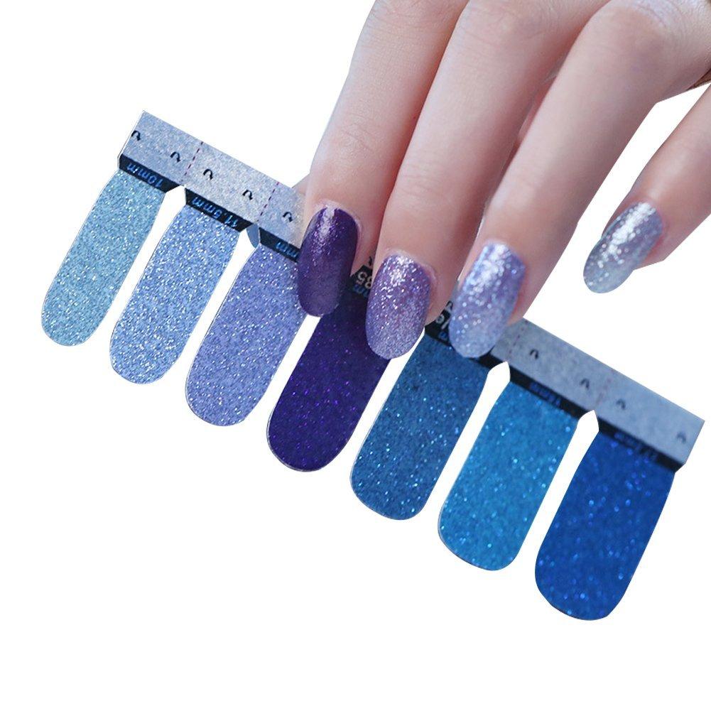 Cosanter Glitzer Nagelaufkleber Nail Art Aufkleber DIY Nagelspitzen, 1 Blatt 14pcs Nagelkunst Aufkleber Zubehör (Weiss Rosa) QJ-C-1041