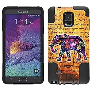 Samsung Galaxy Note 4 Hybrid Case Ancient Elephant 2 Piece Style Silicone Case Cover with Stand for Samsung Galaxy Note 4