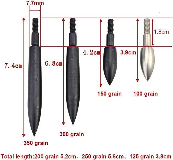 12 x 90 grain 11//32 Archery Bullet Broad Head Target Field Points Tip black matt