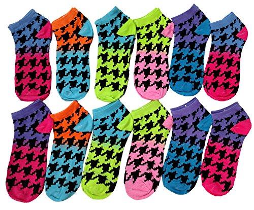 12 Pairs of Sockbin Women's Funky Ankle Socks, Cotton (Bright - Socks Argyle Print