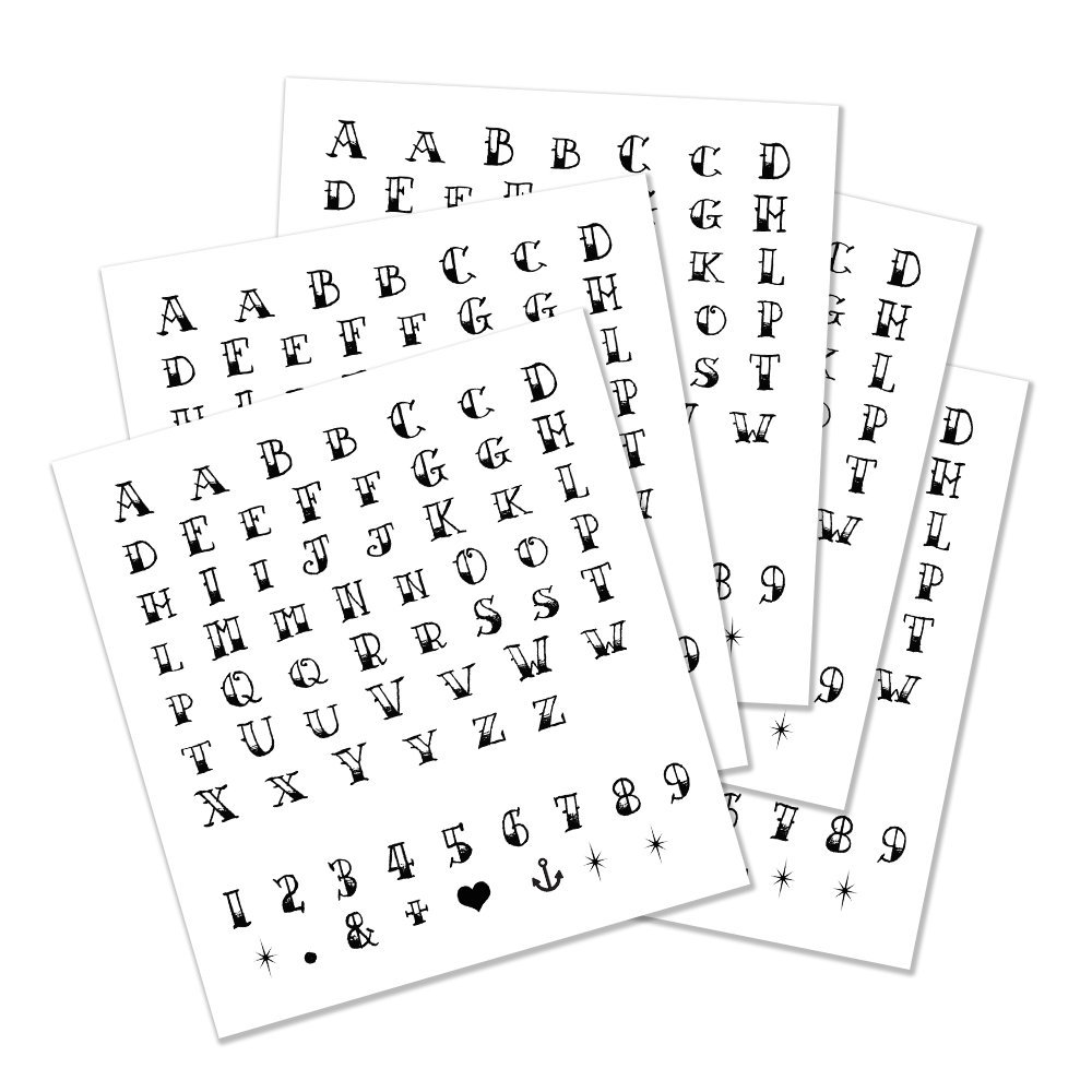 Sailor Jerry Alphabet Temporary Tattoo - Realistic Black Letter, Number & Symbol Body Art - 5 Letter Set Sheets - Cut Apart and Make Your Own, Letter Size - 0.5'' Tall