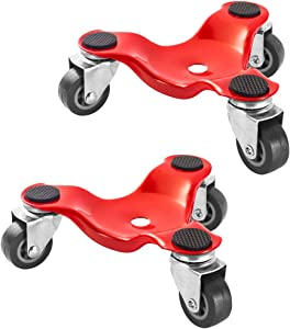 HutHomery 3 Wheel Furniture Mover's Dolly, 6-Inch Steel Tri-Dolly, Easy Moving System for Heavy Loads in Home, Shop or Garage - 2 Pack 300-lbs Load Capacity