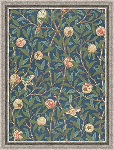 Canvas Art Framed 'Bird and Pomegranate' Wallpaper Design, Printed by John Henry Dearle, 1926' by William Morris: Outer Size 23 x 30