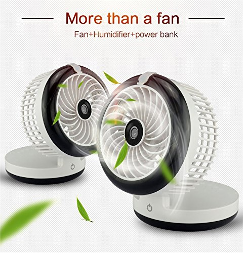 Cooling Misting Fan,Portable Rechargeable Desktop Humidifier fan, Mini Misting Cooling Fan for Home Office Travel - Black by Sammid