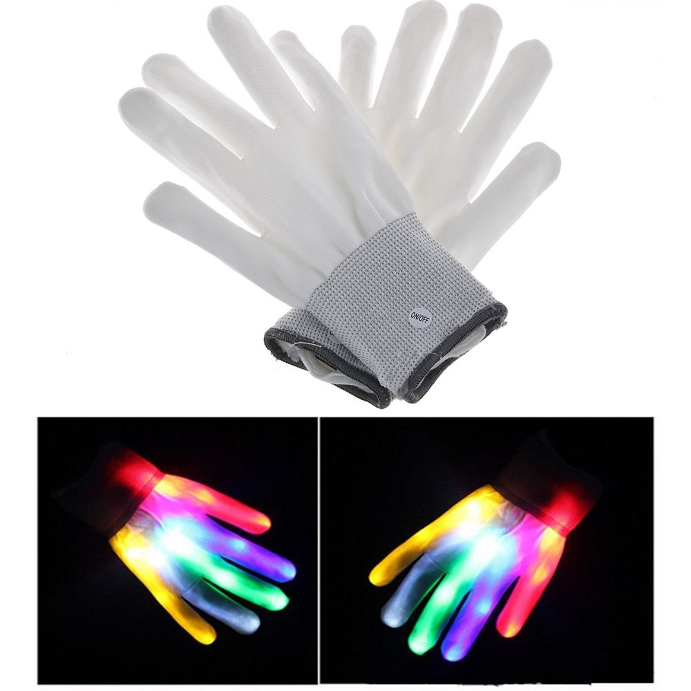 Novadeal LED Flashing Finger Glow Lighting Gloves Colorful Rave Gloves 7 Colors Light Show, Light-up Toys, For Concert/Dance Halls/Bars/Stage Performances Holyhigh