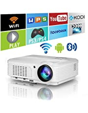 HD Bluetooth Wireless 1080P LED Home Theatre Projector HDMI Smart Android LCD Digital Movie Game Projector WiFi Airplay Miracast USB for iPhone Ipad Mac Phone Laptop PC Tablet TV Box DVD PS4 Xbox Wii