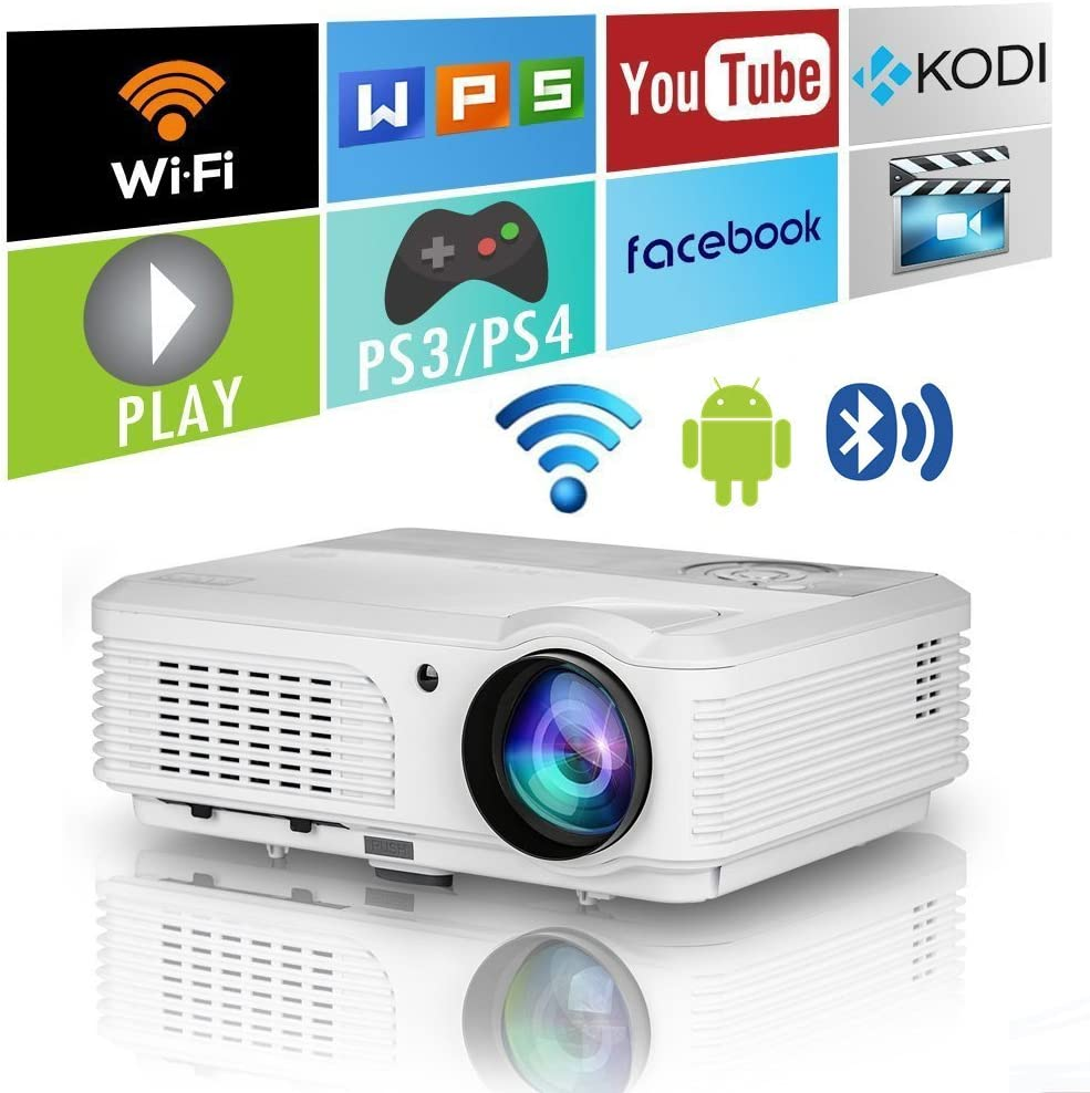 LED Wifi Projector with Bluetooth HDMI USB 2020 Wireless Smart WXGA HD LCD Video Gaming Proyector 4400 Lumens Support 1080P Zoom Ceiling for Home Cinema Theater DVD Basement Outdoor Movie TV
