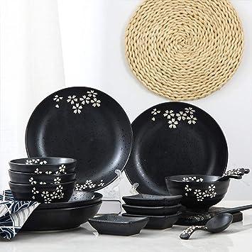 Juego de cubiertos Jingdezhen platos de cerámica casa platos japoneses vajilla mate color underglaze dos personas comida 16 piezas 2 personas comida: ...