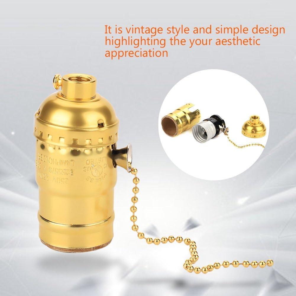 Delaman Vintage Light Socket E27 Aluminum Light Holder Replacement with Pull Chain Desk Lamp Lighting Edison Bulbs Screw Base Silver