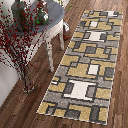 2'x7'7' Runner Area Rug (Uptown Squares Golden Yellow Modern 2x7 ( 2' x 7' Runner ) Geometric Comfy Casual Hand Carved Area Rug Easy to Clean Stain & Fade Resistant Abstract Boxes Contemporary Thick Soft Plush)