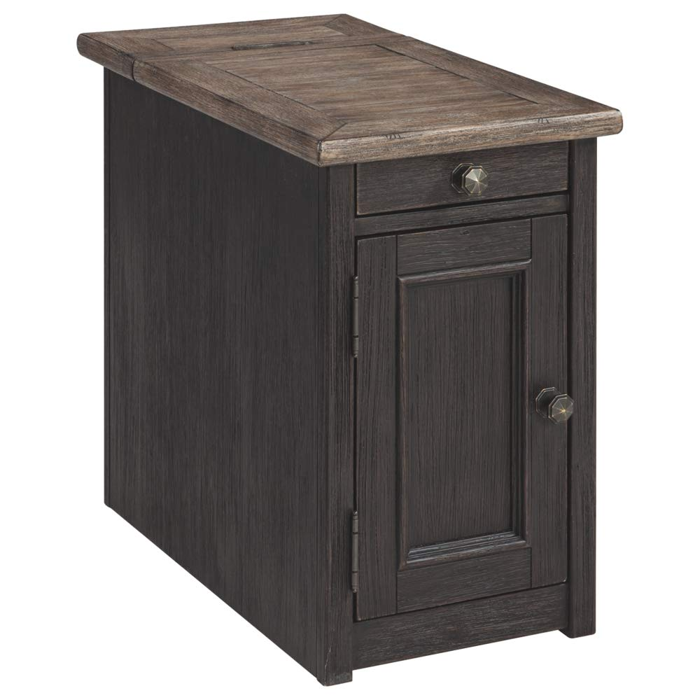 Ashley Furniture Signature Design - Tyler Creek Chairside End Table with USB Ports & Cup Holders, Grayish Brown/Black by Signature Design by Ashley