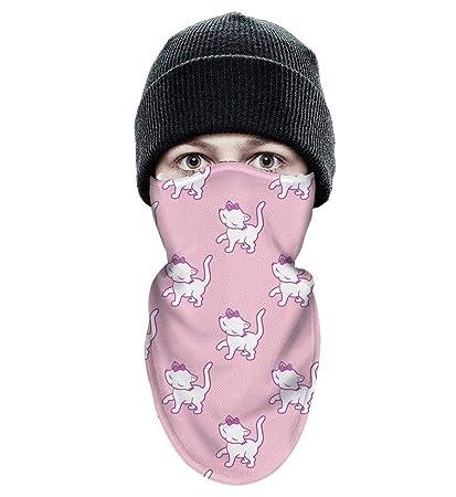 Shadfyvgf Mens Womens Ski Face Mask Cute Kitten Cat Pink Background  Balaclava Tactical Winter Headwear 080ea13d5f
