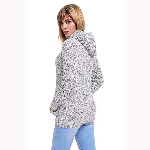 Amazon.com: KFSO Womens Hooded Cardigans Button Up Cable Knit Sweater Coat Outwear with Pockets (Gray, S): Arts, Crafts & Sewing