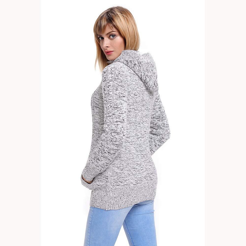 VJGOAL para Mujer de otoño e Invierno Moda Casual con Capucha y Terciopelo de Punto de Punto Outwear Outwear suéter Cardigans Abrigos con Bolsillo: ...