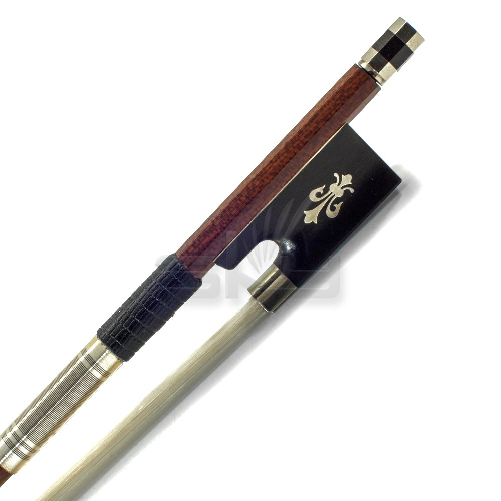 SKY 4/4 Violin Bow Satin Carbon Fiber Round Stick Mongolian Horsehair with Double Eye Fully-Line Abalone Inlay Vl-BOW-4/4-CF-S