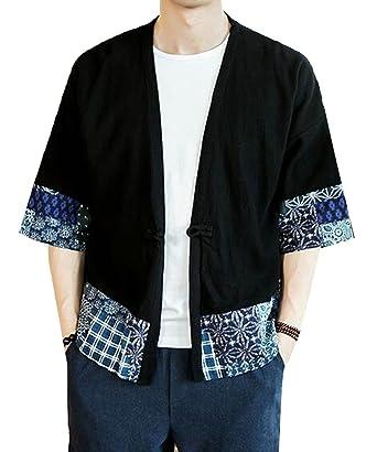 d6920aa3d97 UUYUK Men Cotton Linen Short Sleeve Printed Kimono Jacket Coats Shirt at  Amazon Men's Clothing store: