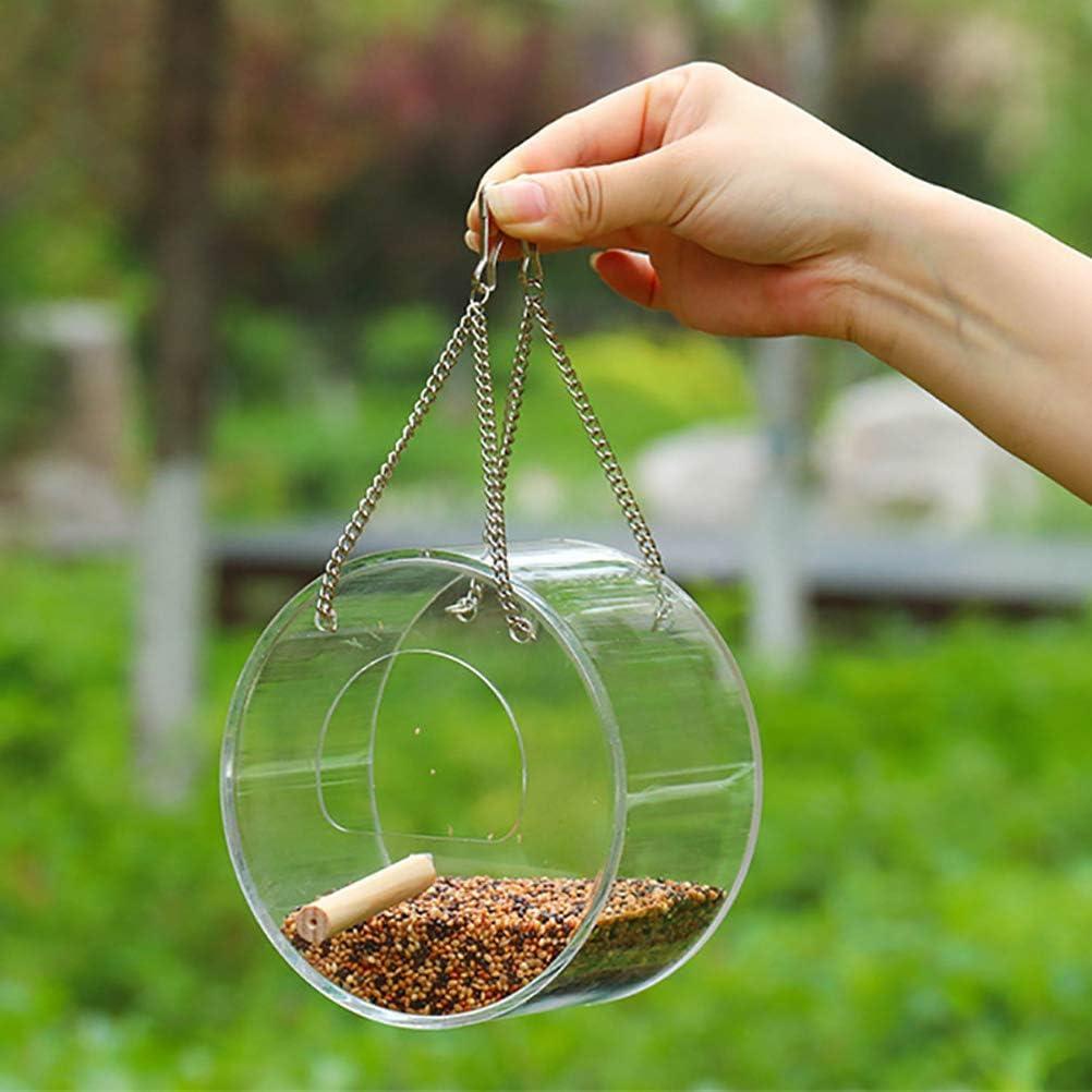 PENGLAI Mangeoire /à oiseaux avec support semi-ferm/é transparent