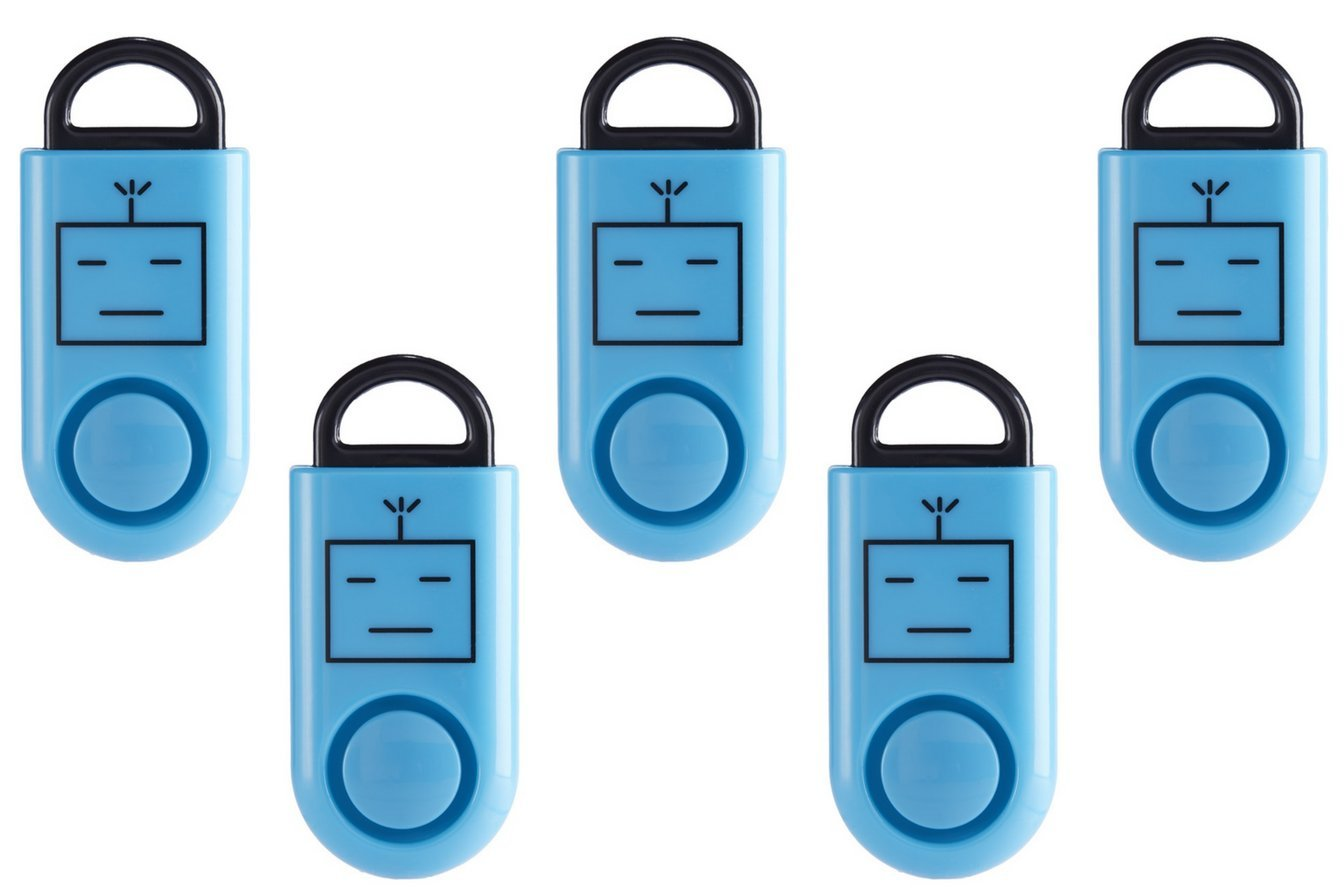 B A S U eAlarm Jr. (Children & Teens), America's #1 Trusted Premium Emergency Alarm, Proven Results as seen on TV, Battery Included, Carabiner Included (5 Pack, Blue)
