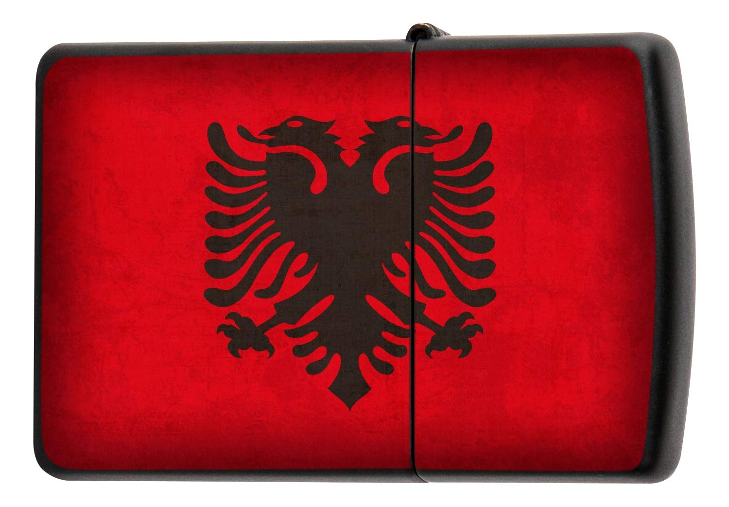 Pocket Windproof Lighter Brushed Oil Refillable Albania flag leotie