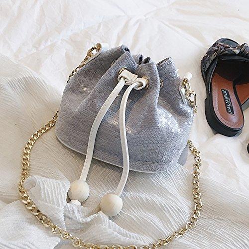 NIHAOA Shoulder Bag Bolso de Las Mujeres Frescas de la Moda Lentejuelas Solo Hombro balde Bolsa de la Cadena Bolso, Gris gray