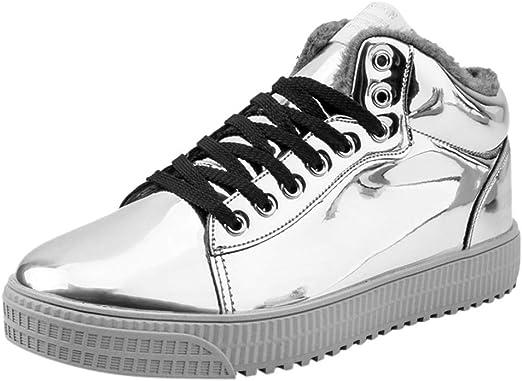 RYTEJFES Zapatos Deportivos Corte Alto con Más Terciopelo Parejas Zapatillas De Deporte con Tendencia De Espejo Colorido Discotecas Lentejuelas Zapatos Casuales De Caña Alta para Discoteca: Amazon.es: Hogar