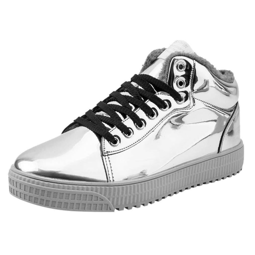 ❤Kauneus❤ Women Men Fashion Sequin Glossy Trend Sneakers Unisex Premium Cool High Top Sport Shoes Couples Casual Shoes by Kauneus Fashion Shoes