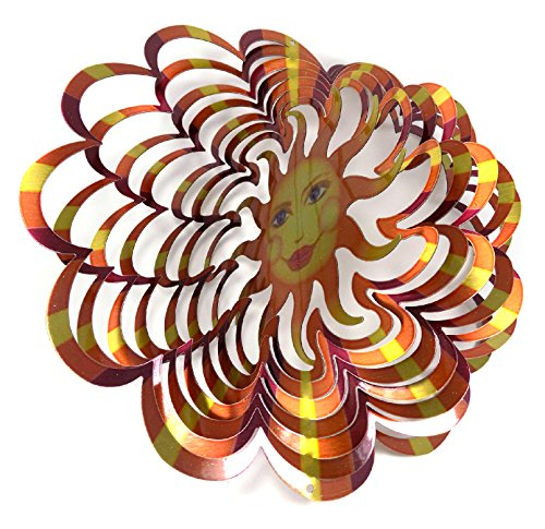 Sun Face Spinner - WorldaWhirl Whirligig 3D Wind Spinner Hand Painted Stainless Steel Twister Sun Face (6.5 inch, Multi Color Copper)