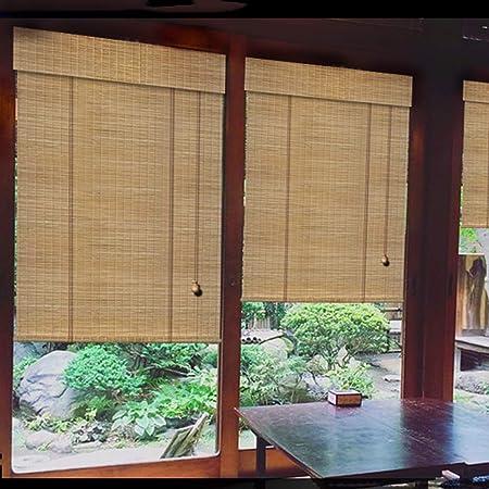 Persianas enrollables de bambú, cerillas de bambú natural tejidas a mano, protector solar impermeable y transpirable, persianas de paja elevables, cortinas decorativas, para la sala de té con balcón: Amazon.es: Hogar