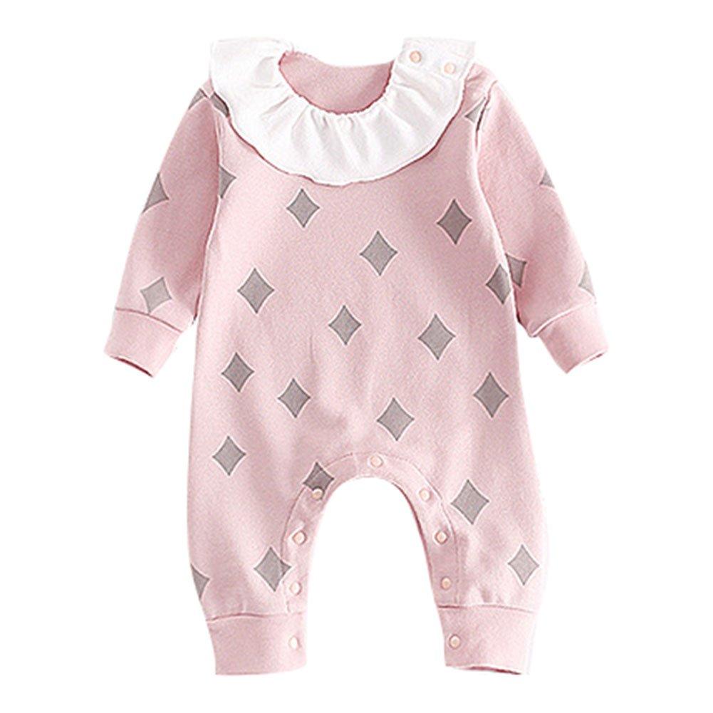 Pelele para Bebé Niño Niña - Manga Larga Pijama Algodón Botónes Otoño Patrón Estrellas Mameluco Bodysuits Rosado 90: Amazon.es: Bebé