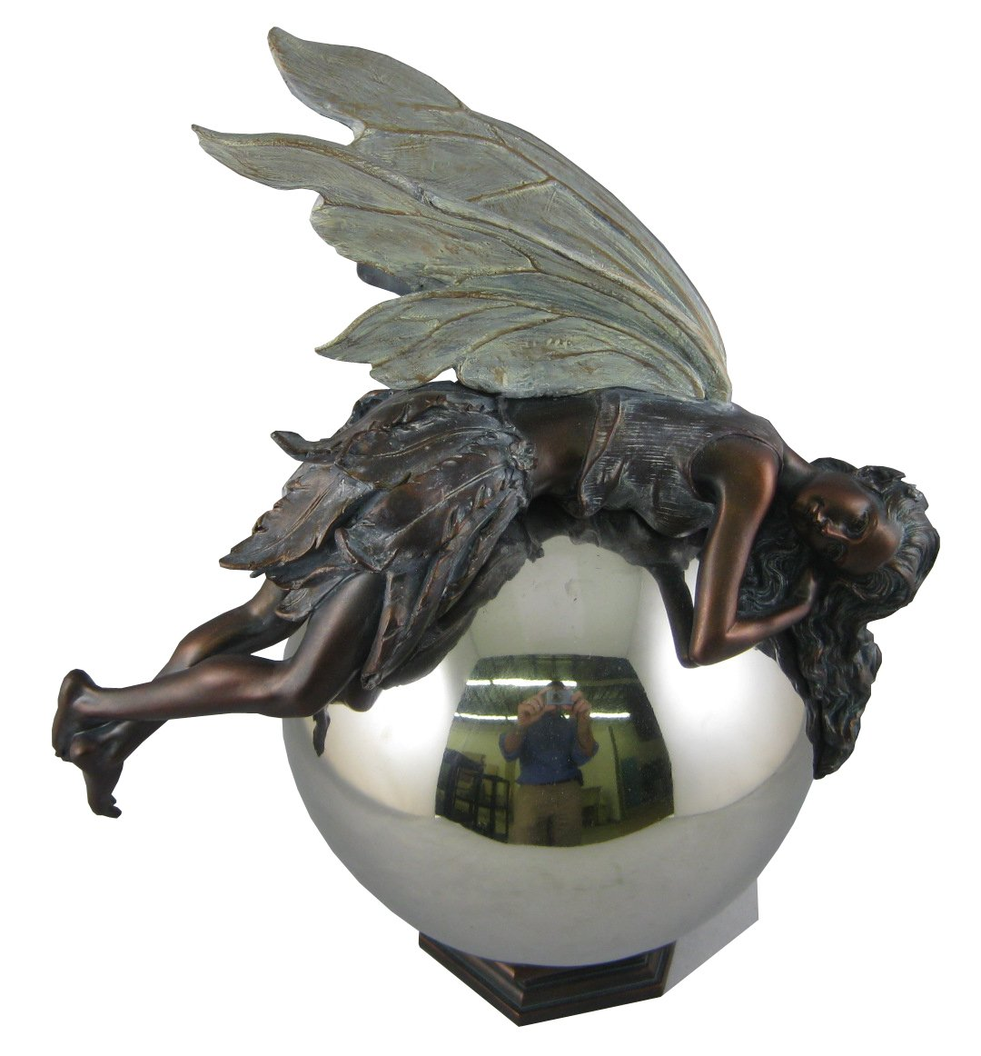 Napco 12-Inch Tall Bronze Fairy on Gazing Ball