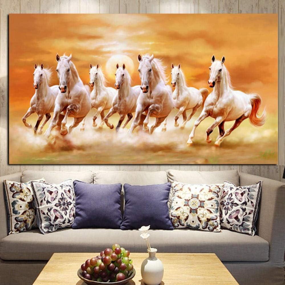 Gran tamaño artístico animal siete caballo blanco pintura al óleo sobre lienzo carteles e impresión moderna pintura de pared para sala de estar Cuadros-60X120Cm_No_Frame_Pc5616