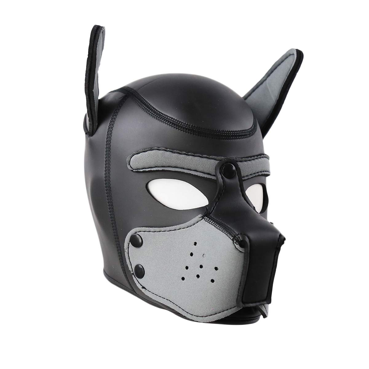 HOT TIME Neoprene Puppy Hood Custom Animal Head Mask Novelty Costume Dog Head Masks (Large, Gray)