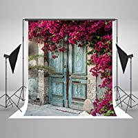 SUSU 5x7ft Vintage Photography Backgrounds Pink Flowers Backdrop Blue Wood Door Photography Props Without Wrinkles
