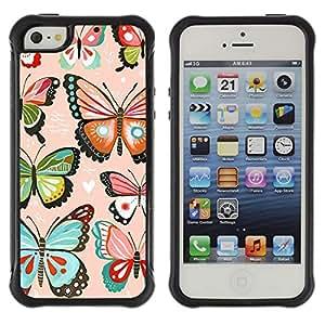 Híbridos estuche rígido plástico de protección con soporte para el Apple iPhone 5 / 5S - pink hearts love butterflies teal