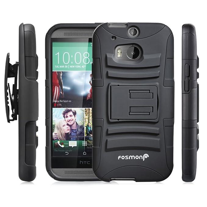 Fosmon® HTC One M8 Funda (STURDY) Híbrido Heavy Duty Duro Caso Carcasa de con Soporte y Cubierta con Clip de Cinturón para HTC One M8 (Negro)