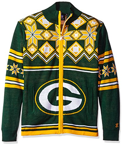 Green Bay Packers Split Logo Ugly Sweater Jacket Large