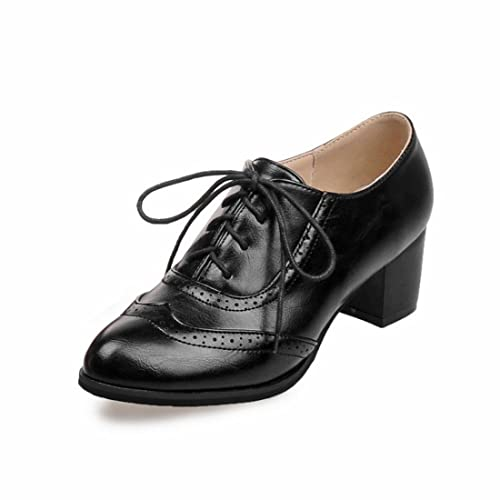 f9b7758c9ced Milesline Fashion Women Lace Up Wingtip Oxford Shoes Retro Leatherette  Chunky Heel Brogue Booties Black