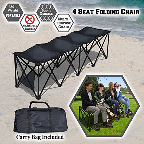 4 Seater Bench (BenefitUSA Sports Sideline Bench 3/4/8 Seater Portable Folding Team Sports Bench Sits Outdoor Waterproof (Black, 4 Seater))