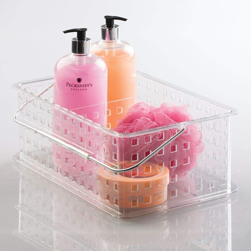 Trasparente Porta Trucchi da Bagno Portaoggetti di Media Misura con Due scompartimenti per Shampoo saponi e lozioni MetroDecor mDesign Organizer Bagno con Manico