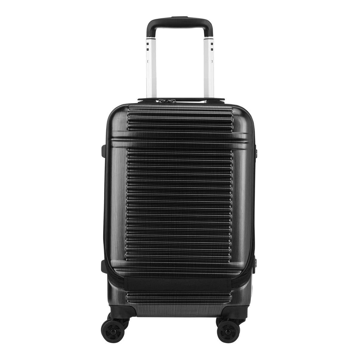 [サンコー] スーツケース ワールドスターW 機内持込可 30L 48cm 3.8kg WSW1-SF  ヘアラインブラック B07KQ2R245