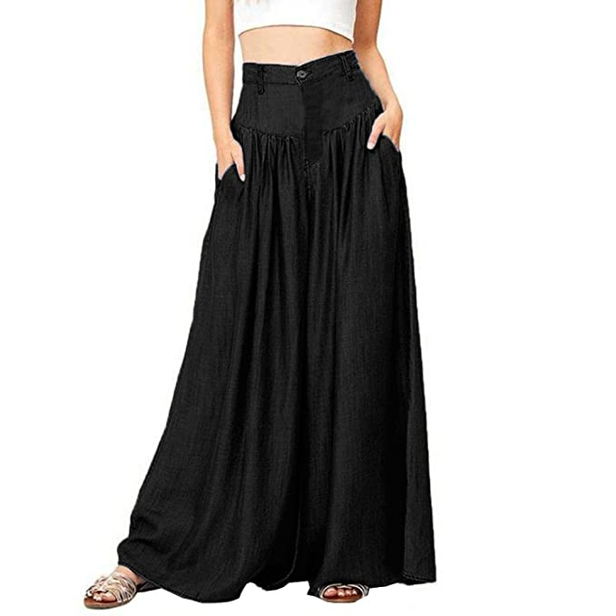 Sameno Women Plus Size Soft Soild Wide Legs Long Pants High Waist Loose  Palazzo Trouser