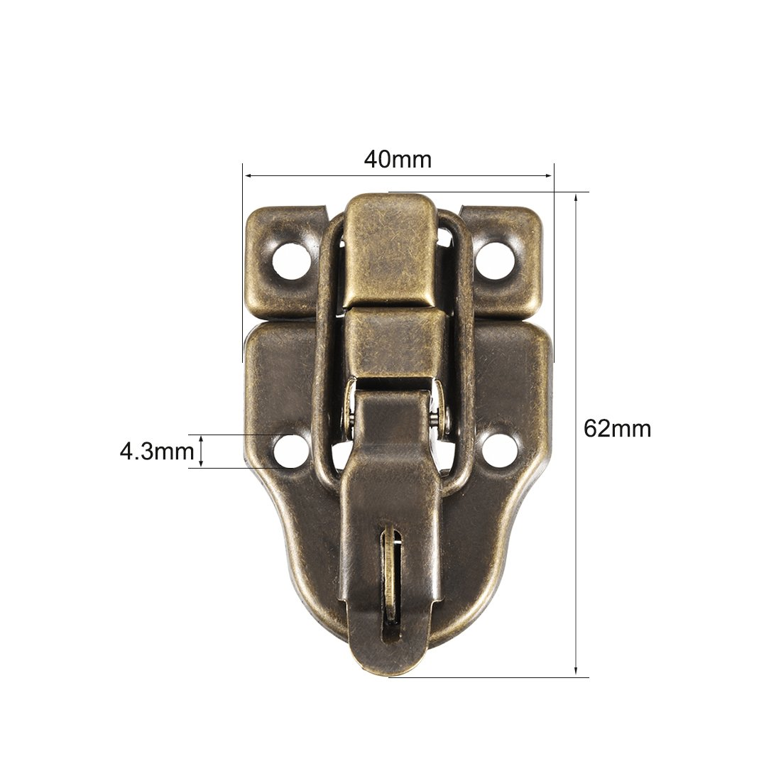 62mm x 40mm Silberton Dekorative Haspe Schmuck Holzkiste Fang DE de sourcing map 5Stk Box Riegel